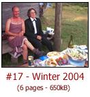 Youngs Hut formal dinner, Cope Hut working bee, 2003 walk statistics, Dr T's Winter Quiz, Equipment News: Robobushie, Shoe with IQ