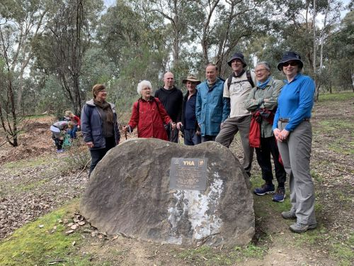 Site of the first YHA hostel, Pound Bend, Warrandyte - current and past YHA Bushwalking committee members